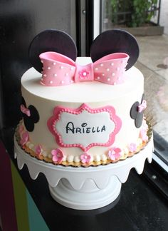 Cute mouse ears birthday cake with pale pink flowers and a polka dot bow topper by Whipped Bakeshop in Philadelphia. Teen Pink, Pink Girl, Cartoon Ears, Cake Eater, New Birthday Cake, Cute Mouse, Decorating Supplies, Girl Cakes, Dessert Recipes