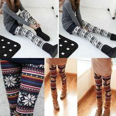 """Knitted Nordic Snowflake Reindeer Crystar Xmas Deer Leggings Tights Pants 22 41""""   eBay"""