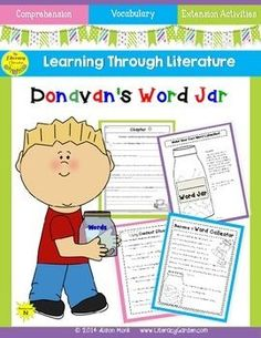 THIS UNIT INCLUDES: * comprehension questions for each chapter * vocabulary and word work lessons * extension activities to provide additional engagement with the story. A READER'S NOTEBOOK for Donavan's Word Jar by Monalisa DeGross - pages 4 -15 provide questions for each chapter. EXTENSION IDEAS - pages 16 - 21 including character traits, summarizing, and creating word collection envelopes for each student.