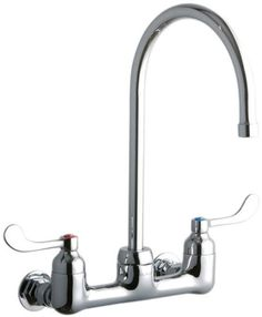 """Elkay LK940GN08T4H ADA 8"""" Centerset Wall Mount Service Sink Faucet with 8"""" Reach Chrome Faucet Utility Double Handle"""