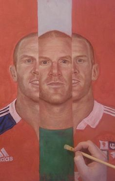 Start of the 'Paul O'Connell In III' painting. Blocking in all the main colours. Munster, Ireland, & the Lions.