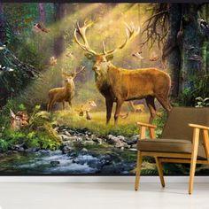 Stag Wallpaper, Wildlife Wallpaper, Photo Wallpaper, Designer Wallpaper, Sunlight, Wall Murals, Serenity, Woodland, Moose Art