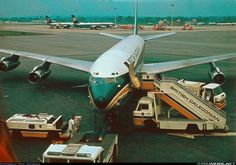 British Caledonian Boeing 707-349C being prepared for its next flight