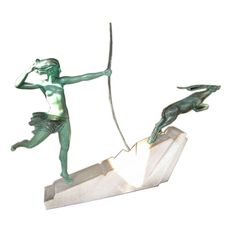 Spectacular Art Deco Diana Huntress and Leaping Antelope | From a unique collection of antique and modern sculptures at http://www.1stdibs.com/furniture/more-furniture-collectibles/sculptures/
