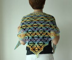 Crochet skull shawl ♥LCP♥ with diagram.  The rainbow colors really brighten it up.