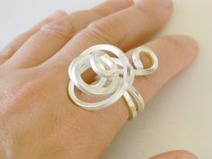 Sterling Silver statement ring, silver spiral ring, sterling silver cocktail ring, swirl ring, wire wrapped ring, silver ring free form OOAK door craftysou op Etsy https://www.etsy.com/nl/listing/164118057/sterling-silver-statement-ring-silver