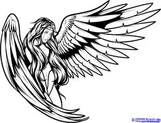 Large Wings Angel Girl Tattoo On Upperback Gaurdian Angel Tattoo, Fallen Angel Tattoo, Tattoo Drawings, Body Art Tattoos, Angel Clipart, Tribal Wolf Tattoo, Drawings Pinterest, Angel Drawing, Wings Drawing
