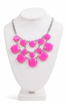 Deb Shops short #statement #necklace with neon square stones $9.67