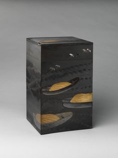 Tiered Box (Jūbako) with Design of Boats and Plovers Artist: Shibata Zeshin (Japanese, 1807–1891) Period: Meiji period (1868–1912) Date: second half of the 19th century Culture: Japan Medium: Gold maki-e on black and brown lacquer, with mother-of-pearl inlay and pewter