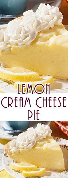 This Lemon Cream Cheese Pie recipe is so easy to make – even if you think your pie challenged. And the lemon filling just says that spring is here! cheese desserts for cream cheese for two cream cheese Lemon Dessert Recipes, Köstliche Desserts, Lemon Recipes, Cheesecake Recipes, Pie Recipes, Sweet Recipes, Delicious Desserts, Lemon Cheesecake, Sweets