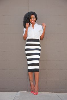 Button-Down Shirt + Striped Pencil Midi Skirt | Style Pantry