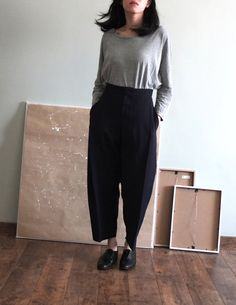 Oversize wide-legged crop trousers by Metaformose on Etsy