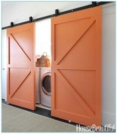 Beautiful barn doors keep this laundry room hidden from site. Barn doors are a definate in our soon to be home in the future. More and more loving the barn door look The Doors, Sliding Doors, Front Doors, Sliding Cupboard, Sliding Wall, Cupboard Doors, Chic Beach House, Mini Loft, Laundry Closet