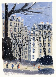 Winter city illustration - Dominique Corbasson #illustration