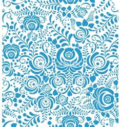 White and blue seamless pattern in russian style vector  by antuanetto on VectorStock®