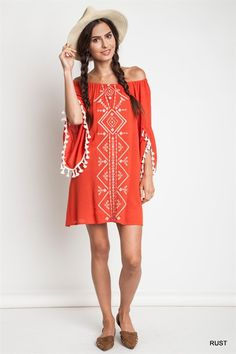 Rust Embroidered Off the Shoulder Dress - Longhorn Fashions