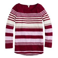 J.Crew (XS) Striped L/S T J.Crew Size Extra Small Boat Neck  Burgandy, Lavender, and White Stripes Long Sleeves Bust: 17' Shoulder to Hem: 26' 82% Tencel Lyocell 18% Polyester  Gently worn (No Rips or Stains) GUC OBO J. Crew Tops Tees - Long Sleeve