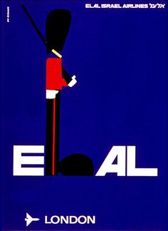 El Al Airlines travel poster - London, England Royal Guard