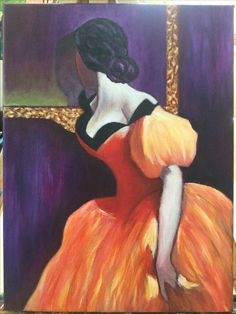 """Reflections by Manette. Really beautiful painting of this lady in the lovely orange dress. Love it.   Acrylic Lesson can be found on www.gingercooklive.gallery"
