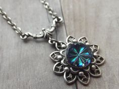 Romantic Blue Swarovski Flower Necklace in Silver - Tiny Treasures by Simply Willow, Valentines, Birthday, Anniversary