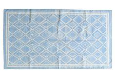 One Kings Lane - Bright & Blissful - Annali Flat-Weave Rug, Sky/Ivory
