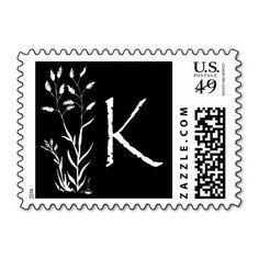 K Monogram (Black Lavender Plant) Postage