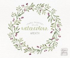 Watercolor+wreath:+hand+painted+floral+wreath+von+LisaGlanzGraphics