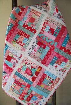 Modern Log Cabin Quilt - Aqua, Pink & Red - Baby Girl, Toddler, Child, Throw. $165.00, via Etsy.