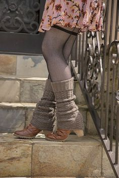 Thick acrylic yarn is knitted up into chunky cabled leg warmers, reminiscent of classic sweaters. An instant wardrobe staple! Warm Outfits, Winter Outfits, Casual Outfits, Cute Outfits, Casual Clothes, Winter Clothes, Striped Thigh High Socks, Leg Warmers Outfit, Hunter Boots Outfit