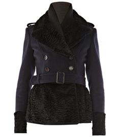 Cashmere Coat by Burberry Prorsum. This navy wool and cashmere blend jacket has long sleeves and button fastening epaulets with black rabbit fur lapels, cuffs and hemline. This double breasted jacket has a knitted inner collar, belt loops and a buckle belt at waist. #Matchesfashion