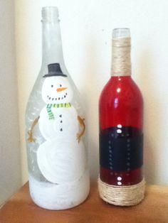 Holiday Christmas Santa and snowman wine bottle diy