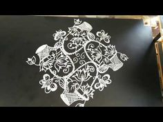 Latest and creative lotus baskets rangoli.exclusive for New to 2 dots. Lotus Rangoli, Indian Rangoli, Diwali Drawing, Sight Word Flashcards, Muggulu Design, Rangoli Designs Images, Rabbits, Baskets, Dots