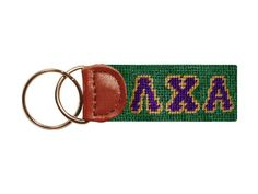 Lambda Chi Alpha Needlepoint Key Fob in Green by Smathers & Branson