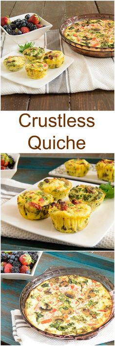 Crustless Quiche - easy, make ahead breakfast packed with veggies and protein! Perfect for brunch or for make ahead breakfast during the week! Gluten free, low fat