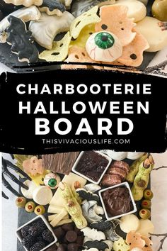 With this spooky board, ANYTHING goes! I like a variety of sweets and savories but you can cater it to your tastes and preferences. The sweets are always the first thing the kids go for, while the adults tend to gravitate to the meats, cheeses and fruit. Our chocolate chip spider cookies or no-bake ghost cookies are delicious and darling to add!