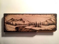 Using a chisel wood burning tool, I created a realistic winter landscape on a small pine block. Wood Burning Stencils, Wood Burning Tool, Wood Burning Crafts, Wood Burning Patterns, Wood Burn Designs, Wood Craft Patterns, Christmas Wood Crafts, Christmas Signs, Wood Creations