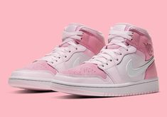 Jumpman is releasing their Air Jordan 1 Mid in this new pink and white colorway with basketball leather. Pink Nike Shoes, Nike Air Shoes, Pink Nikes, Nike Air Max, Sneakers Mode, Sneakers Fashion, Shoes Sneakers, Kd Shoes, Nike Fashion