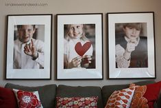 """Cute Valentine Decor I know, this isn't a """"party tip"""" post or anything, but I couldn't help myself with wanting to share. Check out how easy some of these little projects are for some fun-n-festive Valentine's Day Decor: Photos of your Kids My Funny Valentine, Valentine Special, Valentine Day Crafts, Valentine Decorations, Holiday Crafts, Holiday Fun, Valentine Ideas, Valentine Photos, Valentine Picture"""