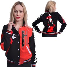 It's time to leave the red and blue world of Suicide Squad for a little classic color with the Harley Quinn Varsity Jacket. Emo Outfits, Cute Outfits, Joker And Harley Quinn, Geek Chic, My Style, Harlequin Costume, Casual, Jackets, How To Wear