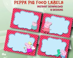 """8 Peppa Pig Food Labels Digital Clipart Frames, Birthday Invitation Tents Cards Tags Printable JPG 3x2"""" Instant Download"""