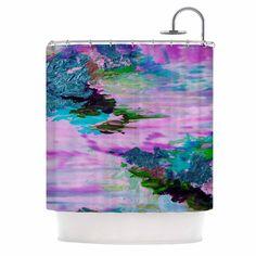 "Ebi Emporium ""On Cloud Nine - 4"" Pink Teal Shower Curtain"