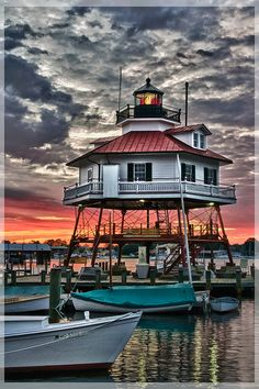 Drum Point Lighthouse, Solomons Island, Calvert County, Maryland....  wakes to the morning sun, via Flickr.