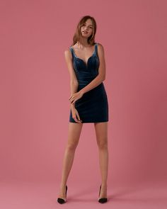 This fitted velvet dress turns heads with its bright, luscious fabric and sexy sweetheart neckline. It also features a bit of stretch and silky lining for an irresistible fit.