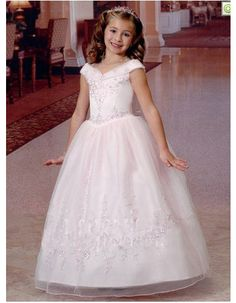 a94b8d78d43d Princess Ball Gown V-Neck Full Length First Communion Dresses/ Pretty  Embroidery Beaded Organza. White Flower Girl ...