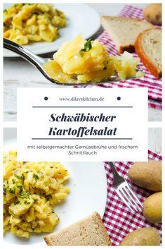 Rezept für Kartoffelsalat wie ihn die Schwaben lieben - mit selbstgemachter Gemüsebrühe und frischem Schnittlauch.  #rezept #recipe #schwäbisch #kartoffelsalat #salat #kochen Easy Peasy, Regional, Vegan Recipes, Vegan Food, Cornbread, Mashed Potatoes, Good Food, Veggies, Favorite Recipes