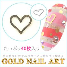 Heart gold nail art