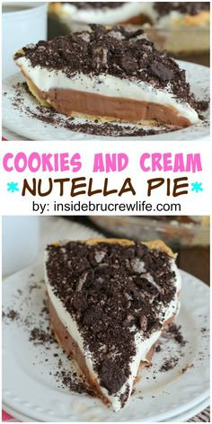 Nutella Cheesecake Pie topped with chocolate cream cookies is a favorite every time!