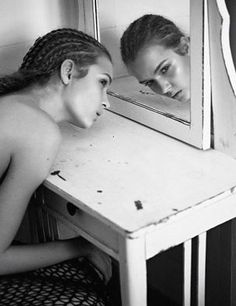 Josephine Skriver by Markus Jans for Tush Magazine Summer 2012 Josephine Skriver, Black White Photos, Black And White, Tush Magazine, Mirror Image, Mirror Mirror, Mirrors, Foto Fashion, Foto Art