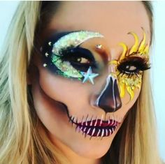 Sun and moon cool asf skull girl makeup #skull #skullgirl #makeup #skullmakeup #halloween