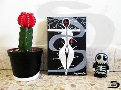 Needles - An original surreal acrylic painting of a space woman. Black and white art with grey and red. A small, elegant, piece of art, wall…